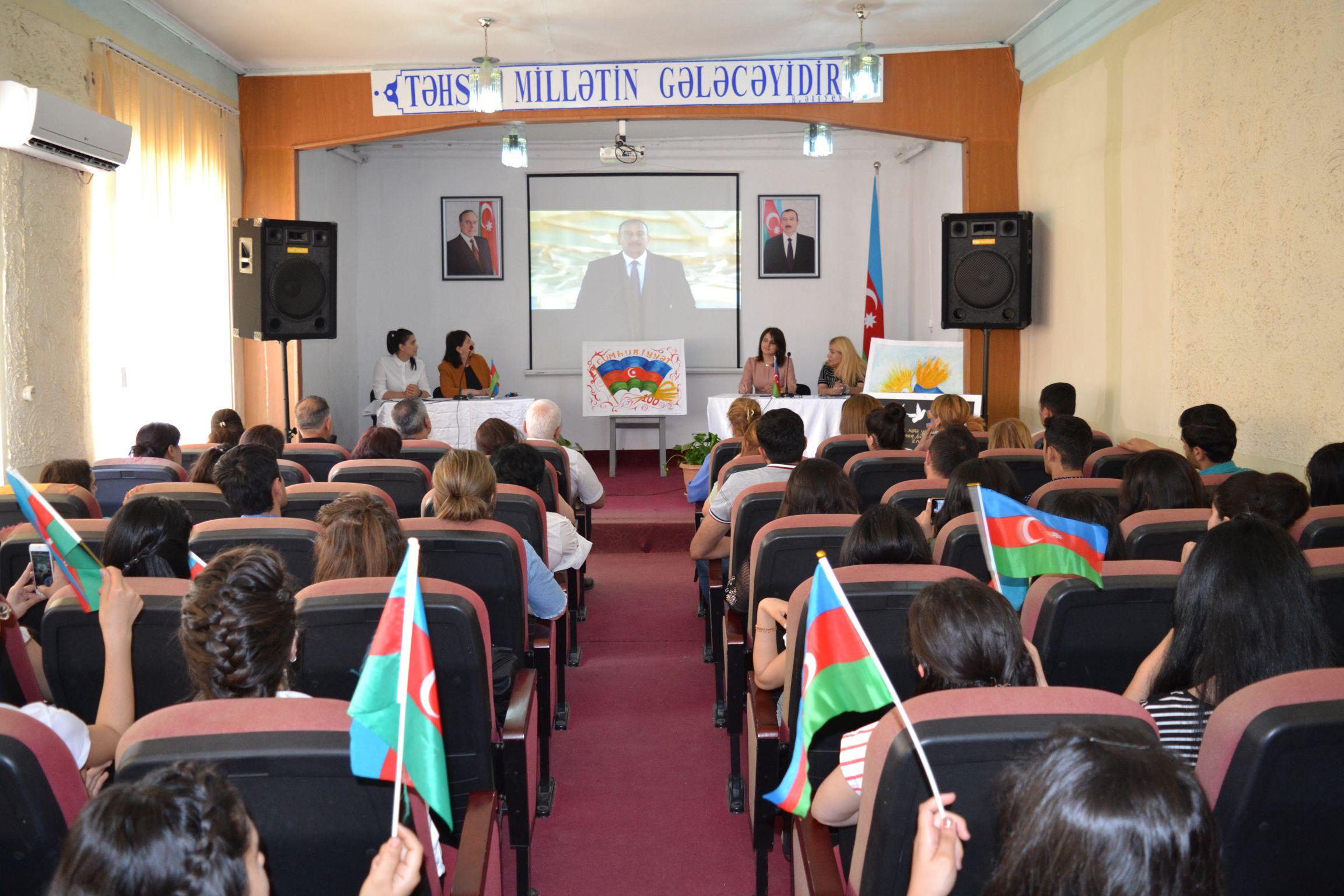 Azərbaycan Xalq Cumhuriyyətinin 100 illik yubileyinə həsr olunmuş təntənəli tədbir keçirildi