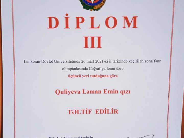 LDU nəzdində Sosial və Aqrar–Texnoloji Kollecin I kurs tələbəsi LDU–da keçirilən olimpiada da III yerə layiq görüldü.